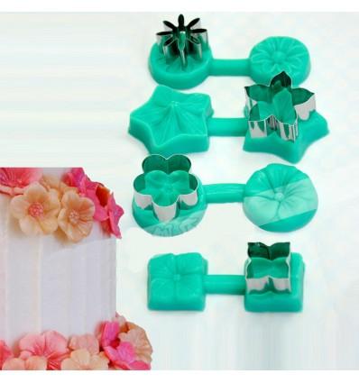 Set 4 Moldes con texturizador silicona flores