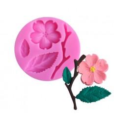 Molde silicona Flor,rama y hoja