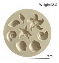 Molde silicona Estrellas y conchas de mar