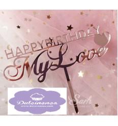 Topper Happy Birthday My Love - En rosa