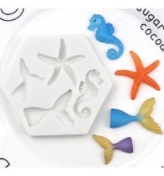 Molde silicona Colas de Sirena, caballito y estrella de Mar
