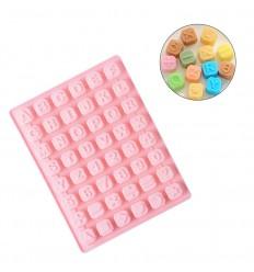 Molde silicona cuadraditos letras y números