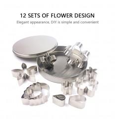 Cortadores surtido en caja metálica flores y hojas