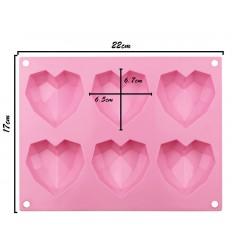 Molde silicona corazón diamante, 6 Cavidades