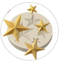Molde silicona estrellas 4 Tamaños