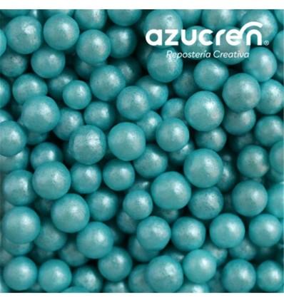 PERLAS DE AZÚCAR TURQUESA 7 MM. AZUCREN BOTE 90 GRAMOS