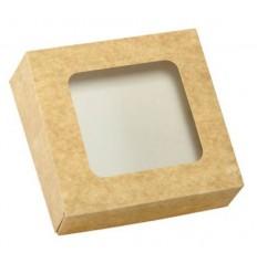 Caja Kraft con ventana 16x16x5 cm