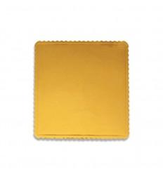 Base Cuadrada ondulada oro para pastel, 30x30cm