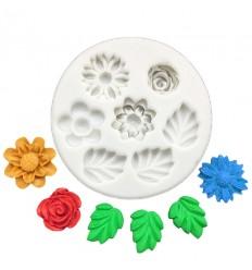Molde silicona varios modelos flores y hojas