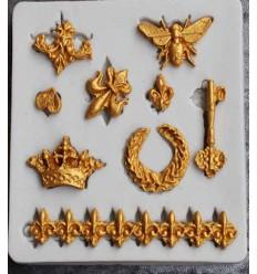 Molde silicona llave abeja corona flor de Lis