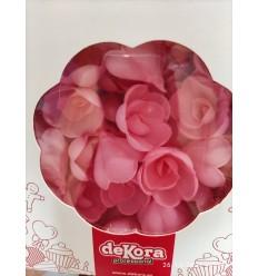 Rosas Medianas color rosa 4cm- Oblea 10 Ud